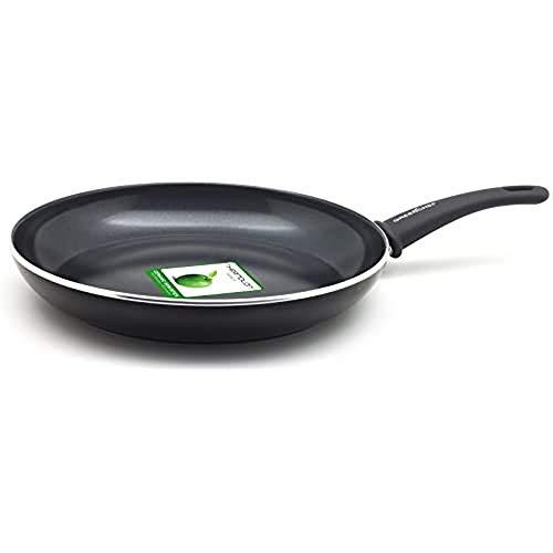 GreenChef Padella Antiaderente in Alluminio Forgiato con Rivestimento in Ceramica, Adatta a Tutti i Tipi di Fornelli, Induzione, Forno e Lavastoviglie, 30 cm, Nera