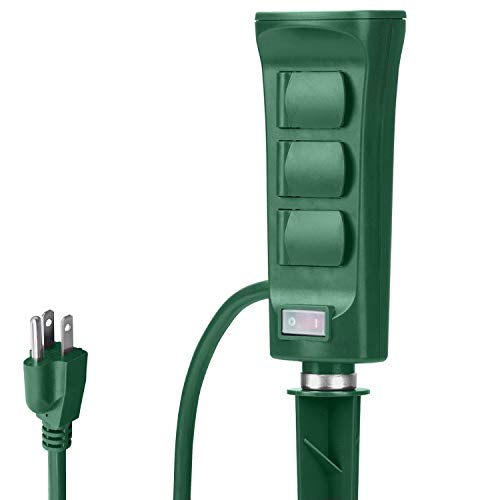BESTTEN Outdoor Power Stake with 6 Outlets and 9 Foot Extension Cord, Heavy Duty Power Strip with...