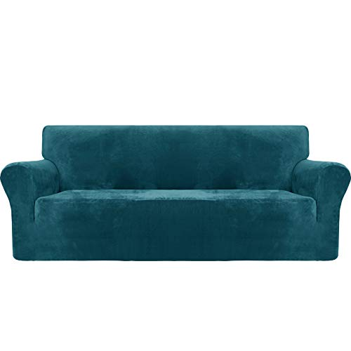 MAXIJIN Thick Velvet Sofa Covers 3 Seater Super Stretch Non Slip Couch Cover for Dogs Cat Pet Friendly 1-Piece Elastic Furniture Protector Plush Sofa Slipcovers (3 Seater, Blackish Green)