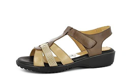 Sandalia Mujer Marca DOCTOR CUTILLAS en Piel Color marrón combinada marrón, Cierre Velcro, Plantilla Gel con cuña 3 cm, Piso Antideslizante - 33854-269