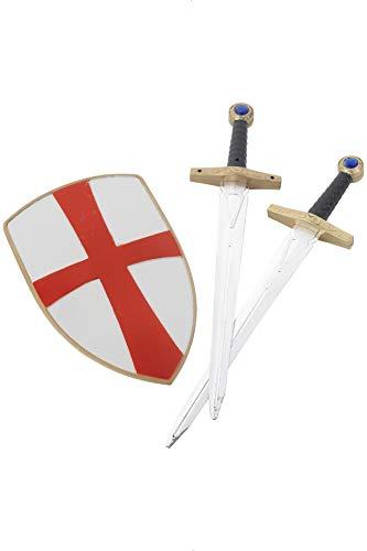 Smiffys Kreuzfahrer-Ritter Set mit zwei Schwertern und Schild 50cm, One Size