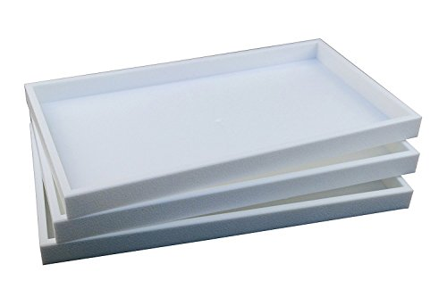 Regal Pak 3-Piece 1-Inch Deep White Full Size Plastic Stackable Jewelry Tray 14 3/4 X 8 1/4 X 1H