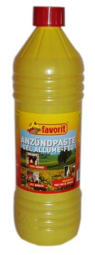 Favorit 1263 Anzünde-Gel für Grill 1000 ml; Praktische Anzünder, besonders brennstark und einfach zu verwenden; mit Spritzausgießer und kindersicherem Verschluss; Anzündpaste auf nachhaltiger Basis