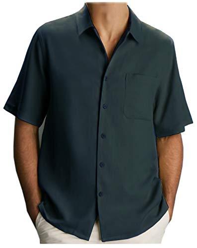 Guytalk Men's Relaxed-Fit Camp Shirt-SAGE BLUE-2XL