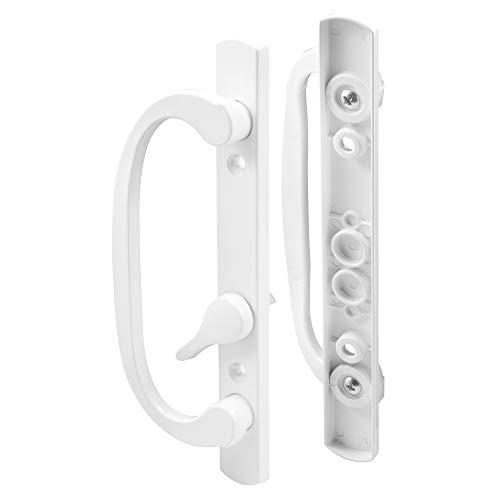 """PRIME-LINE C 1280 Mortise-Style Sliding Door Handle Set – Replace Old or Damaged Door Handles Quickly and Easily –For Right- or Left-Handed Doors - White Diecast, 3-15/16"""" Mounting Holes"""
