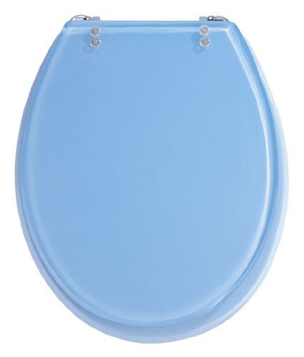 Wenko 18927100 WC-Sitz Tropic Blue - verstellbare, rostfreie Edelstahlbefestigung, Polyresin, hellblau
