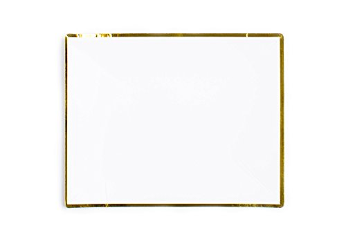 Sugar & Cloth Prato retangular para sobremesa de 14 cm, branco com borda dourada, 24 unidades