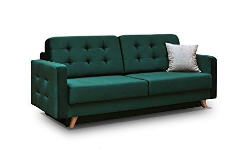 Schlafsofa Kippsofa Sofa Samt mit Schlaffunktion Klappsofa Bettfunktion mit Bettkasten Couchgarnitur Couch Sofagarnitur - CARLA (Dunkelgrün)