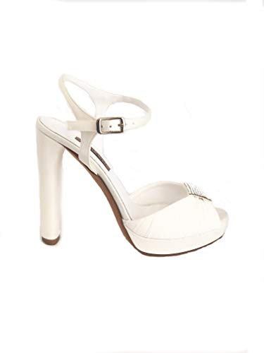 albano scarpe sposa 2130 - Sandalo Donna Albano Wedding in Raso con Dettaglio in Swarovski Tacco 12 cm (39 - Raso Sposa)