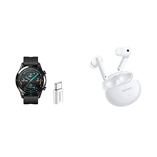 Huawei Watch GT2 Sport + USB-C - Smartwatch con Caja de 46 Mm (Pantalla Táctil Amoled de 1.39', Bluetooth), Negro Mate + HUAWEI FreeBuds 4i - Auriculares inalámbricos con micrófono Dual, Blanco