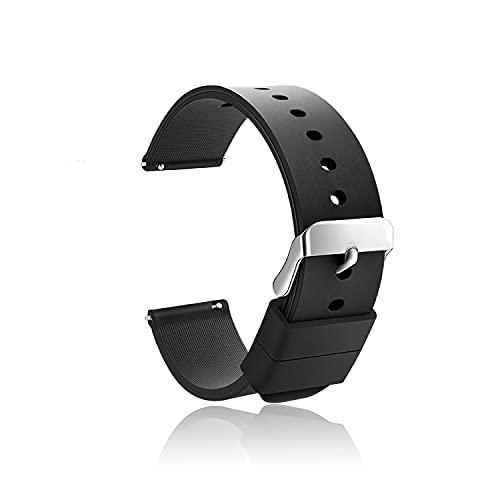 QAQHZW Silicone Watch Straps - Sgancio Rapido,Donna Uomo Gomma Cinturino Orologio Acciaio inossidabile Fibbia Deployante(18mm, 20mm, 22mm, 24mm)
