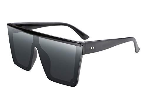 FEISEDY Oversize Flat Top Gafas de sol con Lentes Siameses de Moda Mujeres Hombres Estilo cuadrado sucinto UV400 Gafas sin montura B2470