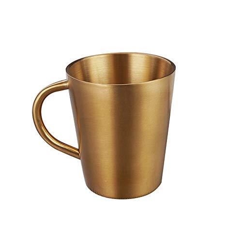 XQK Edelstahlbecher, isolierte doppelschichtige Kaffeetasse Krüge mit Griff für heißes Trinken Tee Kaffee EIS Bier (Gold)