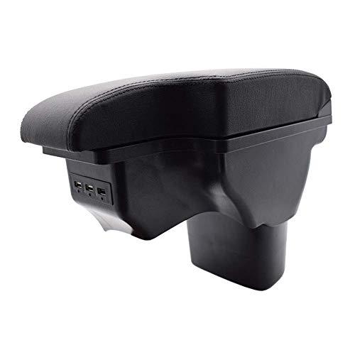 Reposabrazos compatible con Nissan Juke ESQ 2011-2019 centro de cuero negro USB nueva caja de almacenamiento modificación 2014 2015 2016 accesorios de auto