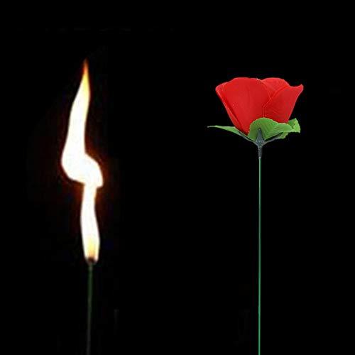 Künstliche Blumen, Fackel ändern Rose Zaubertrick Rose Fackel Flamme erscheint Feuer Bühne Geschenke romantische lustige Neuheit