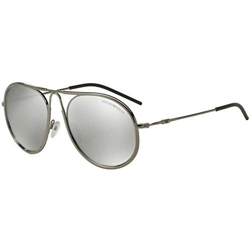 Emporio Armani Unisex EA2034 zonnebril, zilver (gunmetal 30106G), medium (fabrikantmaat: 54)