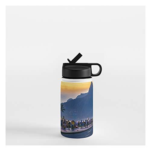 Society6 Ipanema Beach, Rio De Janeiro, Brazil by Dflc Prints on Water Bottle - 12 oz 356 mL - Straw Lid