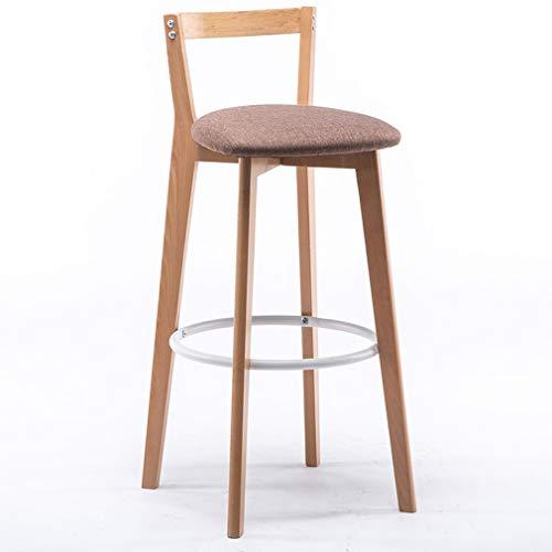 XNLIFE bureaustoel barkruk ontbijtstoel grijze hoge kruk met massief houten rugleuning voor de woonkeuken, zacht zitkussen van katoen en linnen, stabiel metalen pedaal, barkruk