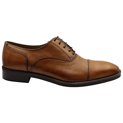 F.VIKATOS Handgemachte Herrenschuhe Leder Oxford Schnürung Abgerundete Square Cap Toe Abendkleid Schuhe (Braun, Numeric_40)