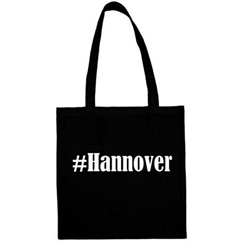 Tasche #Hannover Größe 38x42 Farbe Schwarz Druck Weiss