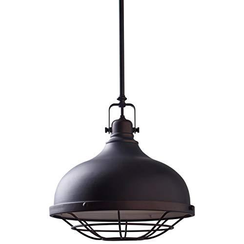 Amazon Brand – Stone & Beam Industrial Farmhouse Indoor Pendant Ceiling Light with Bulb, Adjustable 15