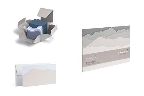 Gmund Papier Geschenkset Gipfelnotizen 3tlg. gestanzt (A5 70 Seiten Grußkarten) natural