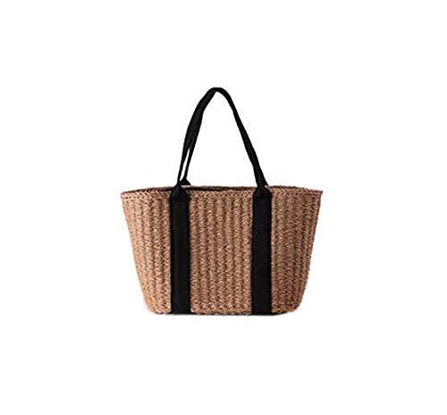 VOANZO New Western Style Simple Paper Rope Woven Bag, Hand-Woven Large-Capacity Shoulder Bag Handbag Dual-Use Versatile Female Beach Travel Bag(Brown)