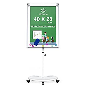 Mobile Whiteboard Magnetic Dry Erase Board Height Adjustable Movable Round Stand Easel Flipchart White Board with Paper Pad Magnets Dry Erase Markers Eraser 40x28 inch  White