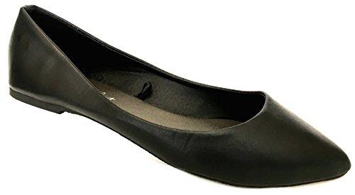 Shoes 18 Womens Ballerina Ballet Flat Shoes Solids & Leopards (10 Black P.u. Potol)