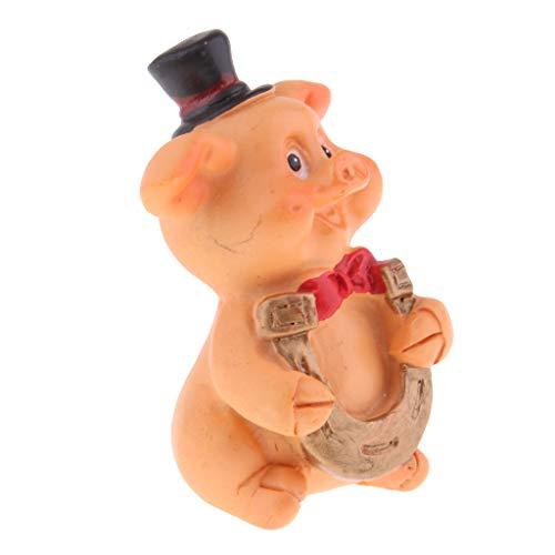 Sharplace Résine Cochon Figurine Fée Jardin Fournitures Micro Paysage - Fer à Cheval