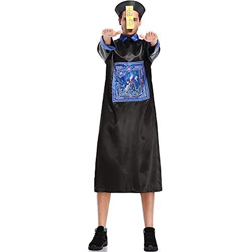 LIZHOUMIL 3 unids/set de disfraz de zombi de Halloween, zombi espeluznante disfraz de Halloween, disfraz chino Qing Dynasty fantasma Festival padre-hijo disfraz hombres XL