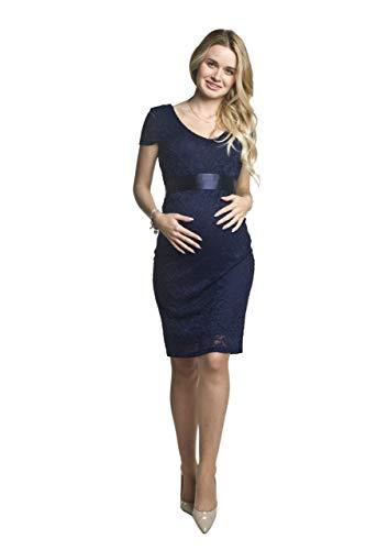 Torelle Damen Umstandskleid Brautkleid für Schwangere, Modell: LACE, Kurzarm, dunkelblau, L