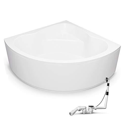 Eckbadewanne 150x150cm Komplettset inkl. Untergestell, Standard Ab-Überlauf-Garnitur und Schürzen-Set, Extra stabile Badewanne Eckwanne Koblenz ohne Zubehör