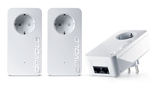 devolo dLAN 550 duo+ Network Kit Powerlan Adapter (3 Adapter im Set, 2x LAN Port, Kompaktgehäuse, Netzwerk, Powerline, einfaches LAN Netzwerk aus der Steckdose) weiß
