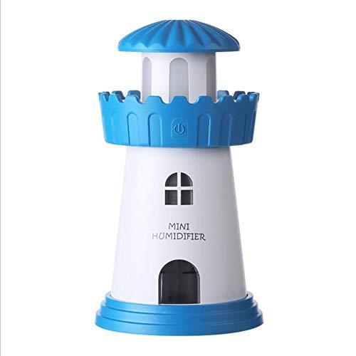 HRFHLHY USB vuurtoren vochtinbrengende koude mist-Aroma-machine thuis lichte anti-drone-bevochtiger stille luchtreiniging, blauw