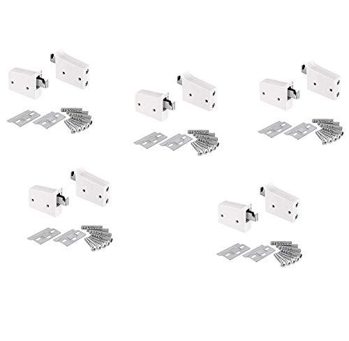 Gedotec Schrankaufhänger Oberschrank Schrank-Aufhängung weiß - H10630 | Schrankhalter zum Schrauben | Tragkraft 150 kg | 5 Komplett-Set - Möbel-Aufhänger mit Trägerplatte & Befestigungsmaterial