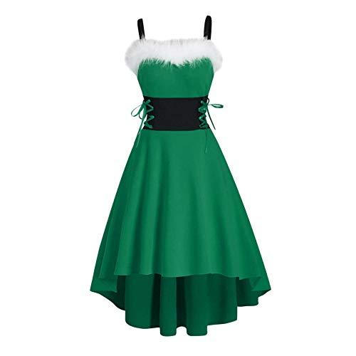 Auifor Damen Weihnachtskleid,Fluffy Faux-Pelz Off Schulter Schnürung asymmetrische high Low Midi Kleid(D-Grün,XX-Large)
