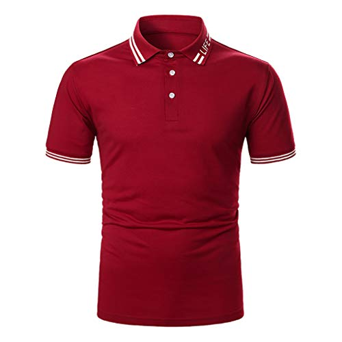 Yowablo Herren Poloshirt Basic Kurzarm Polohemd T-Shirt Polo Mode Slim Stripe Button Pullover Shirt Casual Tops (XL,Rot)