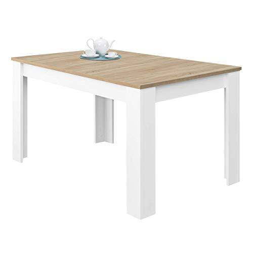 Habitdesign 0F4584A - Mesa de comedor extensible Kendra, 123-173 cm x 75 cm x 78 cm, acabado en color blanco Artik y roble Canadian