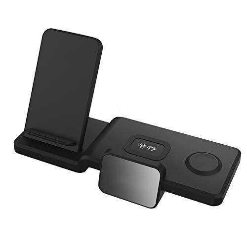 TLM Toys Cargador inalámbrico 3 en 1 para estación de carga de reloj y teléfono, modo de mesita de noche para iWatch Series SE/6/5/4/3/2/1, carga rápida para teléfono 12/11/Pro Max/XR/Xs/X/8/8P