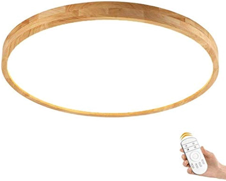 Runde Deckenlampe, Moderne Minimalistische Wohnzimmer Deckenlampe Gummi Holz Küche Deckenlampe Fernbedienung Deckenlampe (Farbe   30cm)