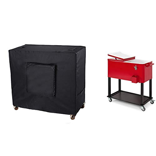 Patio Cooler Cover Waterproof, Cooler Cart Dust Cover, 80 Quart Rolling Cooler Protective Cover for Beverage Cart, Patio Ice Chest, Party Cooler and Outdoor Bar Cart, Storage Bag Included