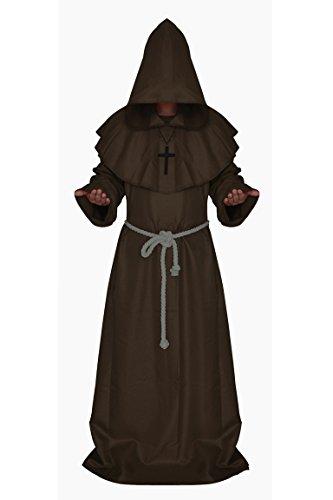 Manfis Disfraz de iglesia – Disfraz de monje con capucha del Renacimiento para hombre, marrón, S