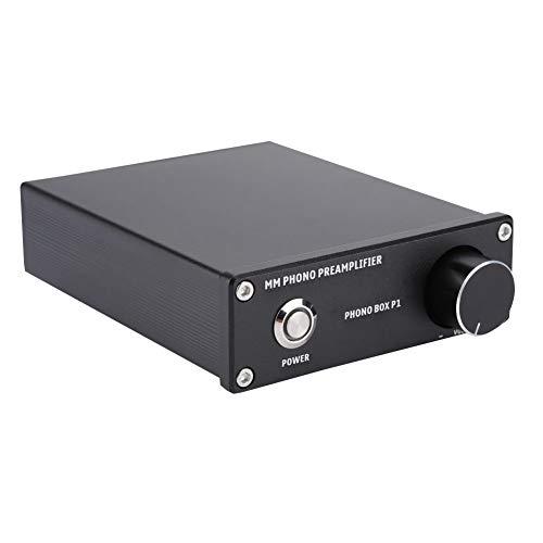 Voorversterker HiFi Phono-versterker, PHONO BOX P1 MM platenspeler audioversterker, audio-ontvanger met vrij instelbare uitgangsversterking voor MM/MC-cartridges (EU-stekker)