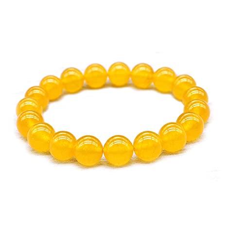 JiYanTang Pulsera de Jaspe Amarillo para Limpieza Corporal, Pulseras espirituales de meditación de Yoga, Pulsera Amarilla, Piedras curativas de Cristal curativo de Reiki