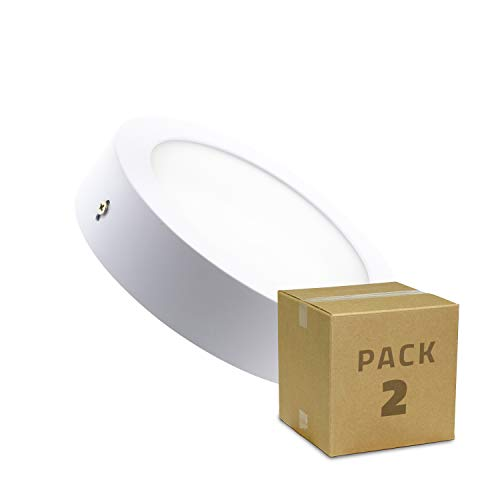 LEDKIA LIGHTING Pack Plafones LED 18W Circular (2 un) Blanco Frío 6000K - 6500K