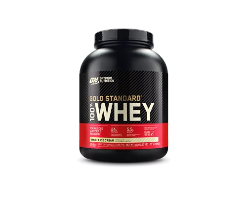 Optimum Nutrition Gold Standard 100% Whey Protein Powder, Vanilla Ice Cream, 5 Pound (Packaging May...