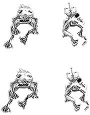 Kvinnoörhängen, 2 par legering silver knoppörhängen, grodörhängen, retro stift avtagbara örhängen, söta örhängen, groda hängande örhängen örhängen örhängen elegant design örhängen, allergivänliga, för kvinnor flickor