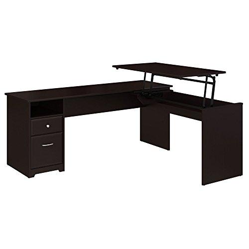 Bush Furniture Cabot 72W 3 Position L Shaped Sit to Stand Desk in Espresso Oak