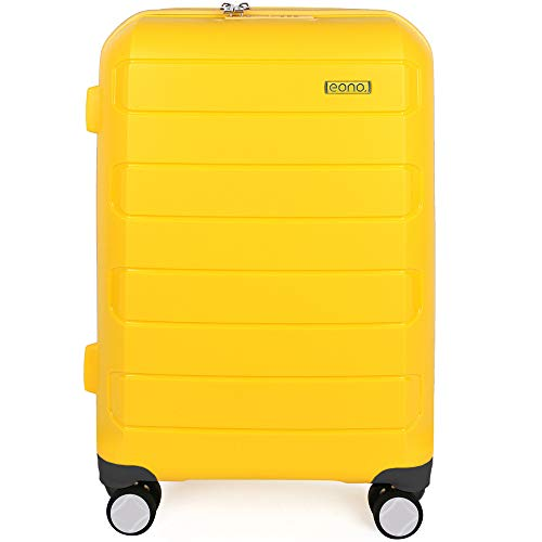 Eono by Amazon Expandable Hand Luggage Hard Shell Polypropylene Anti-Scratch Cabin Carry On with Spinner Wheels and Built-in TSA Lock, 55cm, Yellow